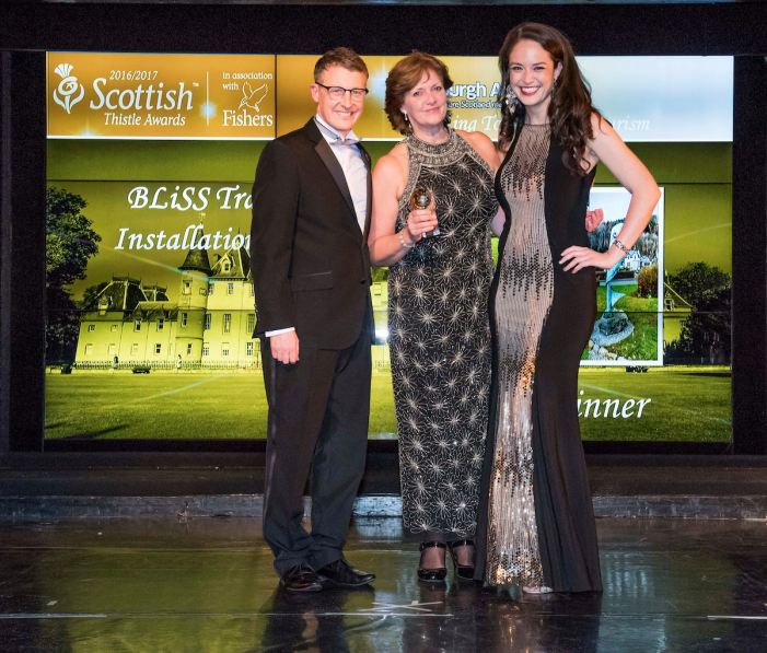 LETi Chair Kim Proven accepts Scottish Thistle Award from STV's Jennifer Reoch