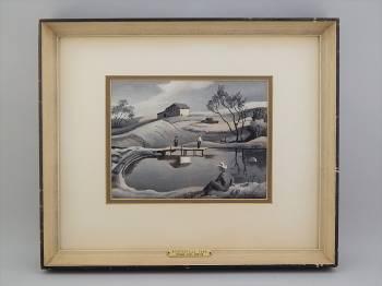 Original, market-fresh painting by Thomas Hart Benton (Am., 1889-1975).