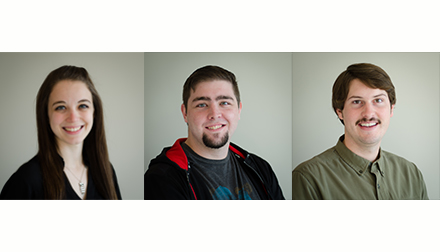 New HES team members Erica Wright, Ryan Moormann, and Ryan McPhillips