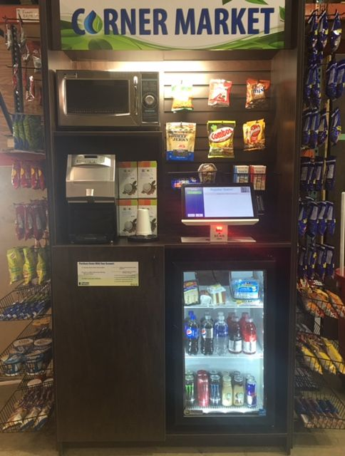 32M Corner Market featuring the Express Lite Kiosk with 32M fixtures & products