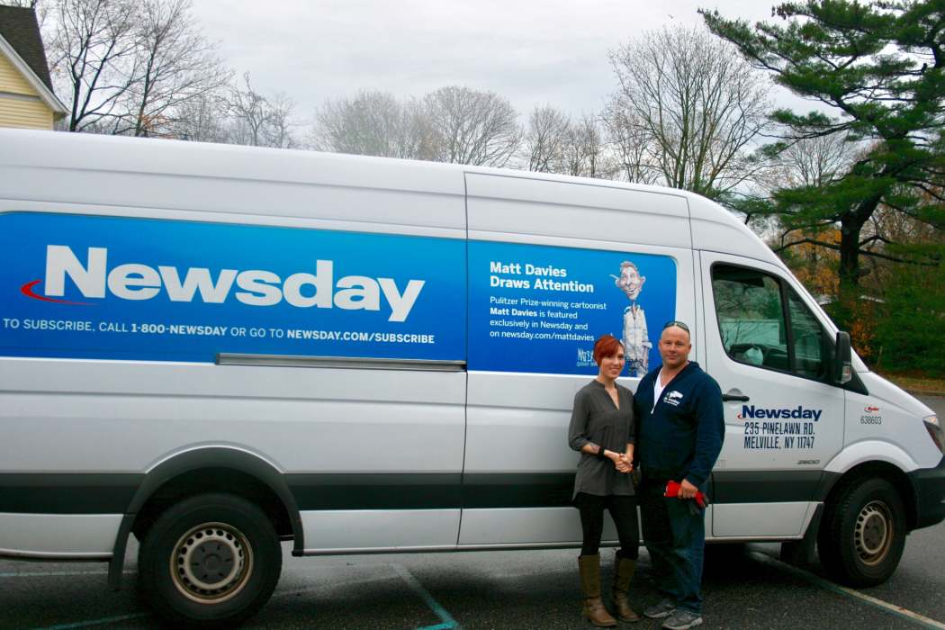 Alanna Barrera, CAC staff, & Charlie Monell, Newsday, pose in front of the News