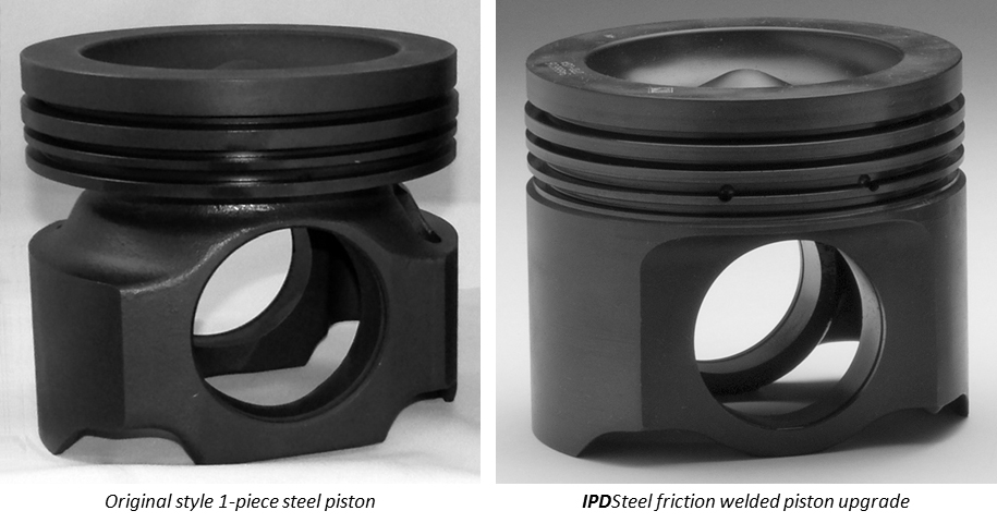 Original style 1-piece piston vs. IPDSteel welded piston
