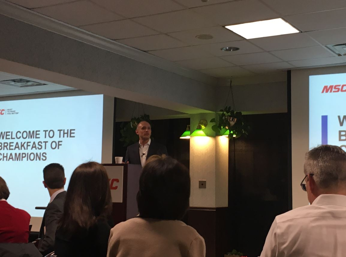 Erik Gershwind, President & CEO, MSC, addresses attendees.