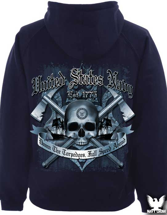 Blue US Navy Damn The Torpedoes Hoodie