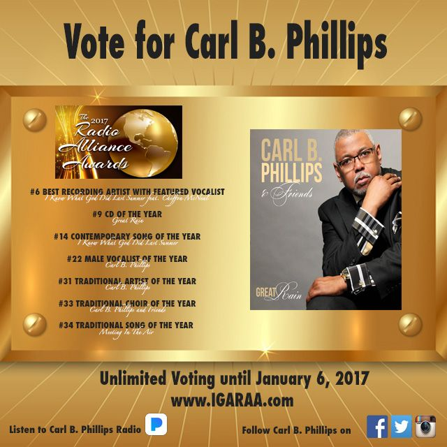 Vote for Carl B. Phillips 2017 Radio Alliance Awards