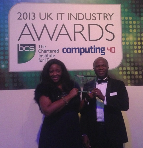 Prof Chris & Dr Anne-Marie Imafidon after winning the BCS award
