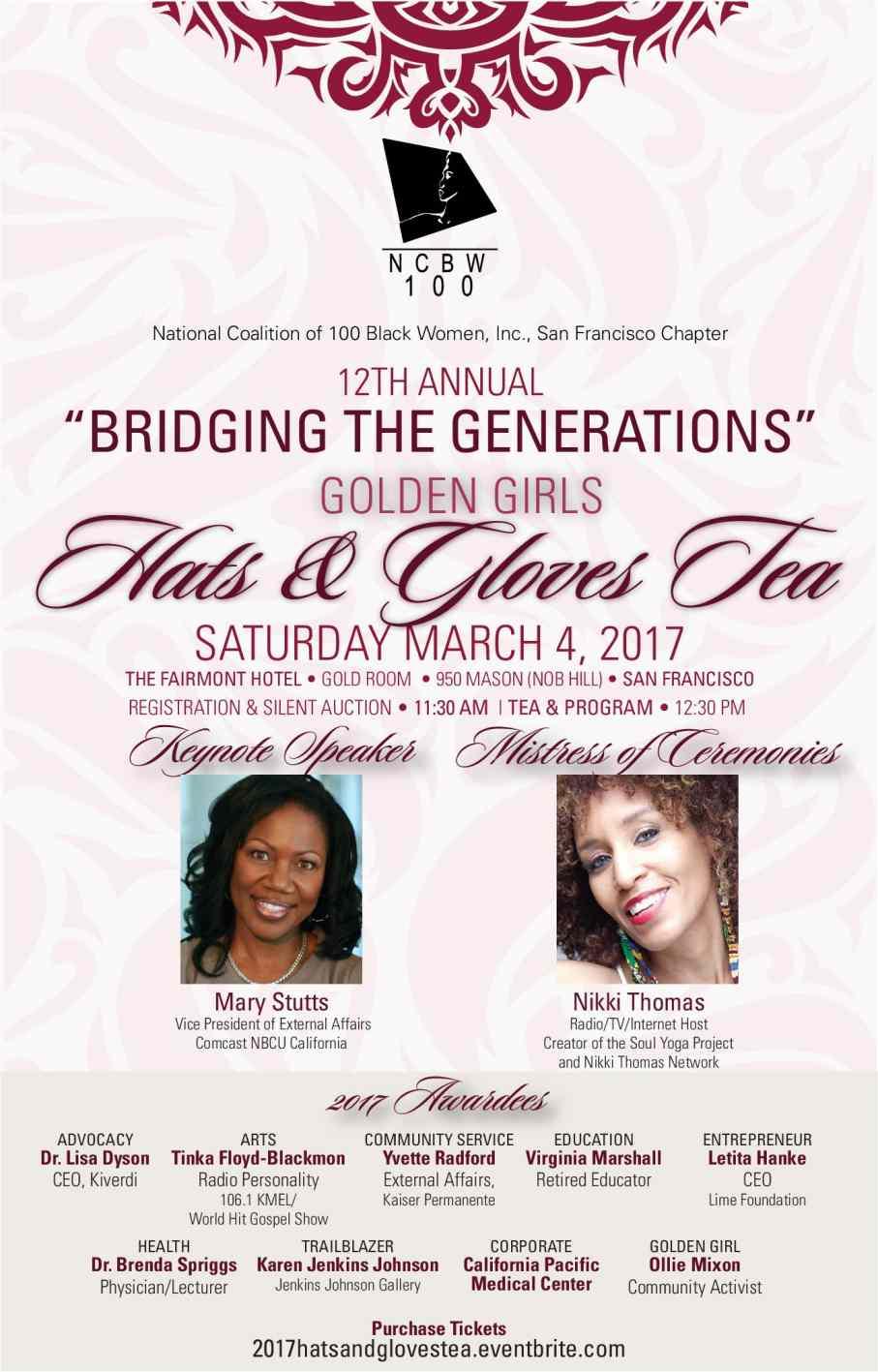 """Inspiring Generations, SFNCBW's """"Golden Girls Hats & Gloves Tea,"""" March 4, 2017"""