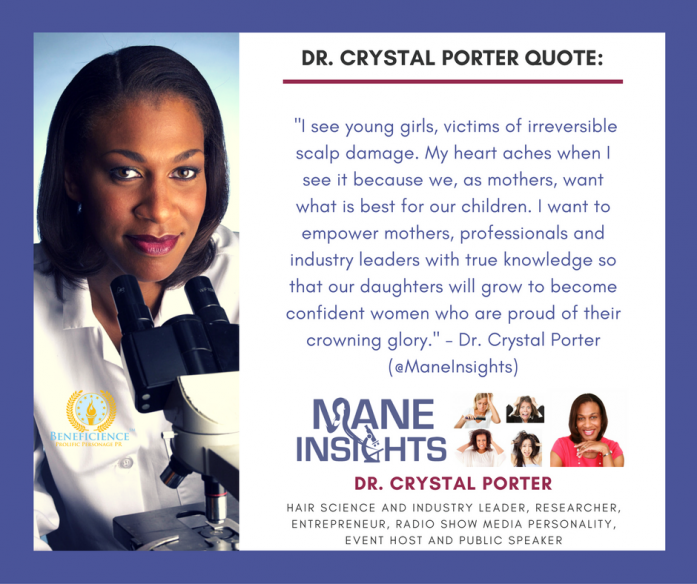Dr. Crystal Porter of Mane Insights Hair Science Industry Expert In The News