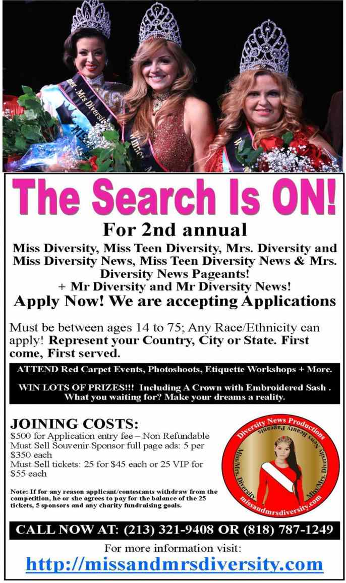 Search is On for 2st annual MissMrs Diversity & Mi