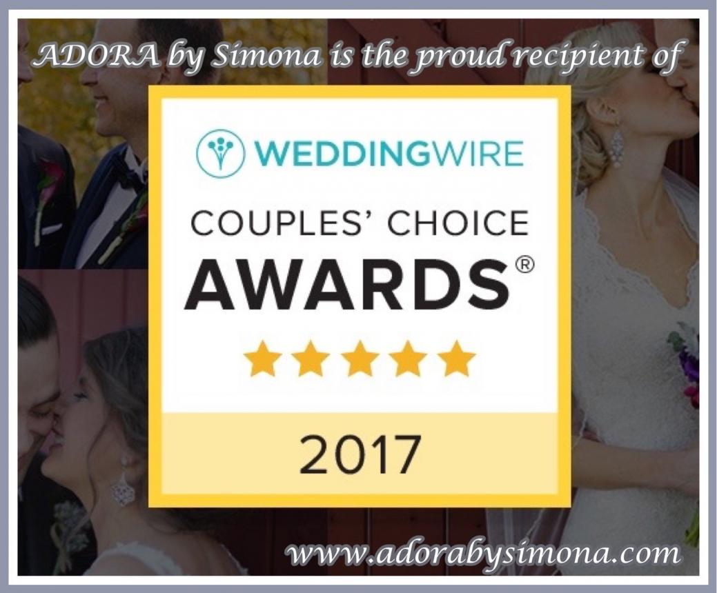 ADORA by Simona - proud recipient of WeddingWire Couples' Choice Awards 2017