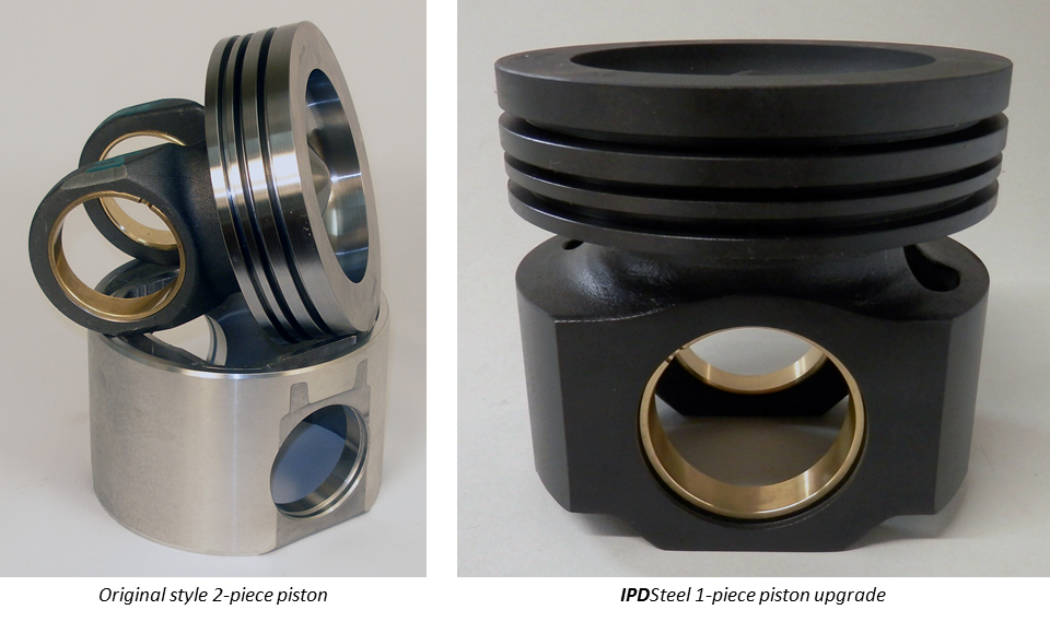 Original style 2-piece piston vs. IPDSteel 1-piece piston