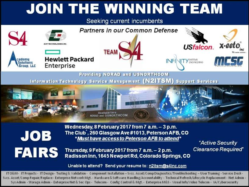 Come and Meet the S4 N2ITSM Team on Feb. 8 & 9th