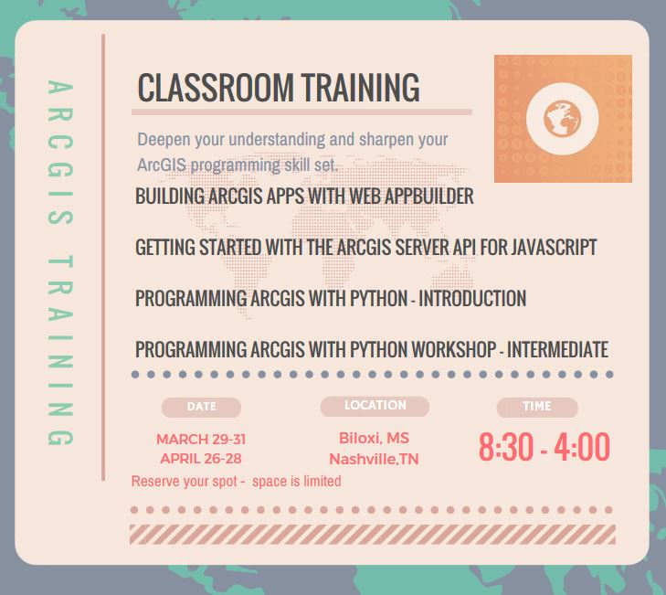 Announcing Spring Workshops and Training for ArcGIS Developers in