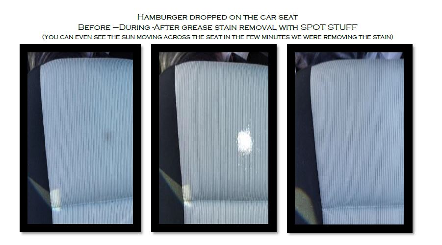 Hamburger on Car Seat before during and after remo