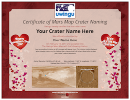 Each Valentine's Mars Crater Comes with a Customized Certificate of Naming