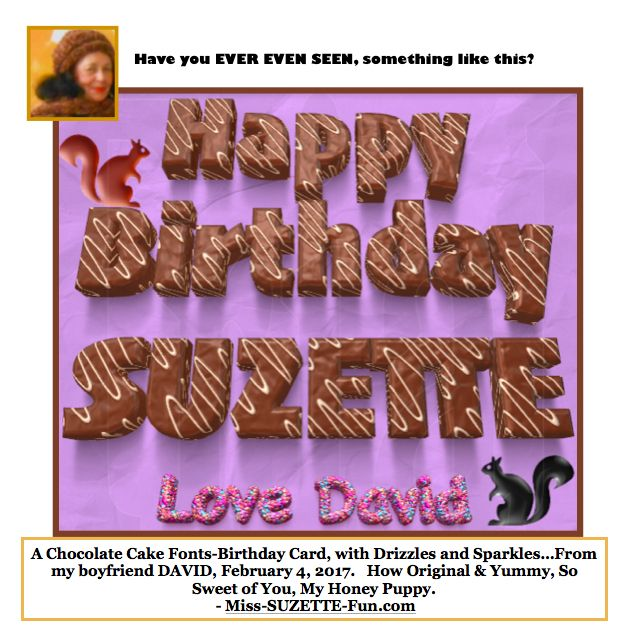 Birthday Card Made Of Chocolate Cake Fonts Sweet Surprise For Miss