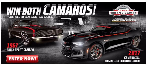 The Camaro Dream Giveaway grand prize includes the cars plus $35,000 for taxes.