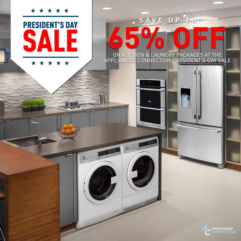 Save up to 65% on select kitchen appliances, laundry appliances, and furniture!