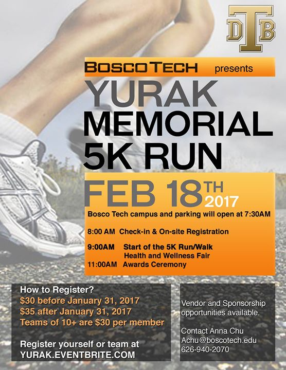 Sign up today for the Yurak Run on Feb. 18