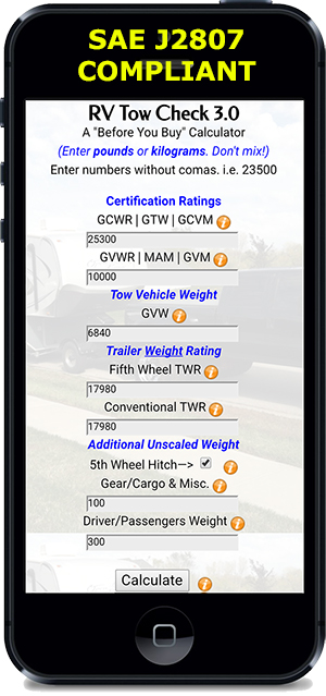 RV Tow Check, Version 3.0 on mobile device.