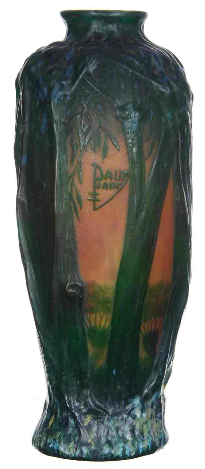 Beautiful Daum Nancy 11.25-inch blown mold art glass vase with forest decor.