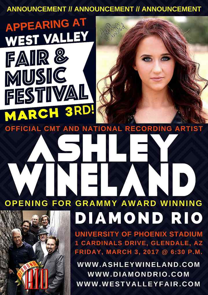 ASHLEY WINELAND APPEARING AT WEST VALLEY FAIR & MUSIC FESTIVAL