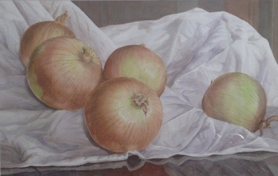 "Paul J. Noel ~ 'Still Life With Onions' ~ Watercolor 22"" x 30"""