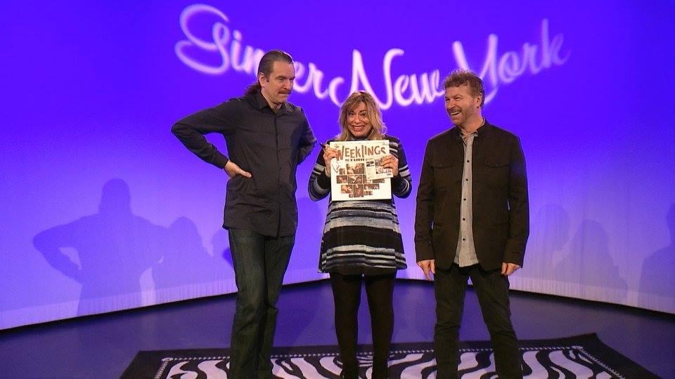 John Merjave (L) Host Ginger Broderick and Joe Bellia (R)