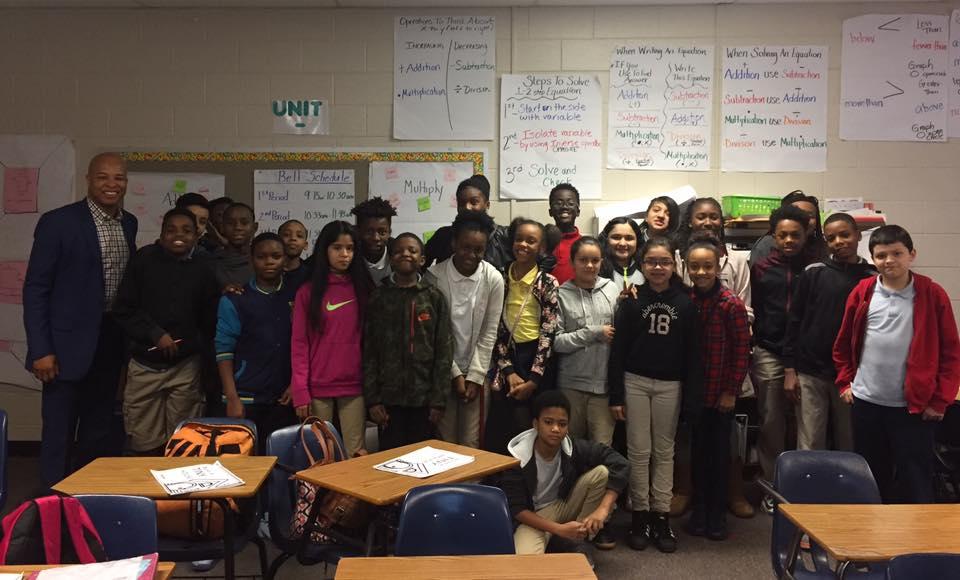 Herschel Chalk with Lindley's Sixth Grade Academy Math Class
