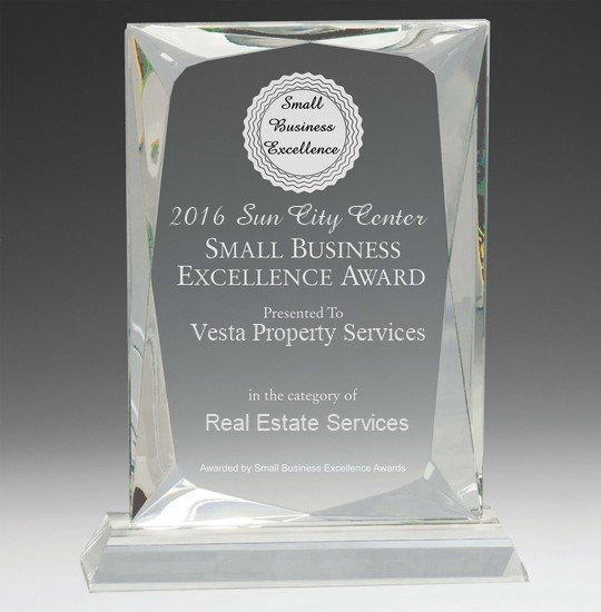 Vesta has received the 2016 Sun City Small Business Excellence Award.