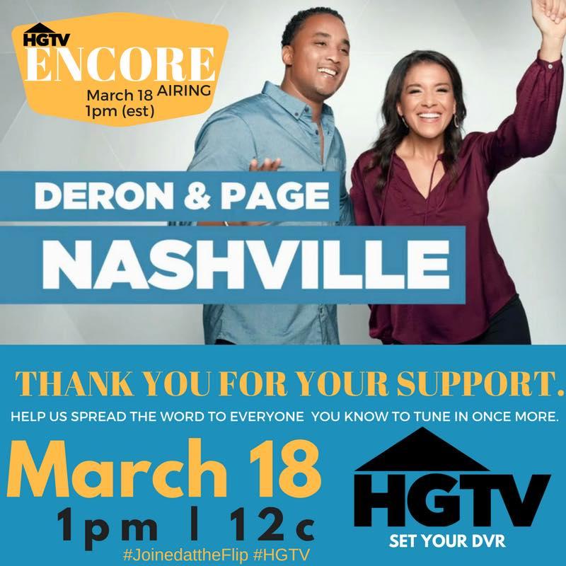 "TUNE IN @JoinedAtTheFlip ""ENCORE"" show on @HGTV - Sat., Mar 18th, 1p 12c #HGTV"