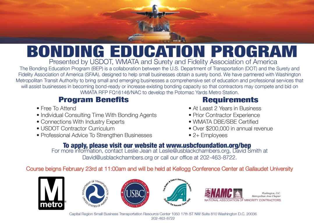 US Department of Transportation (DOT) Bonding Education Program