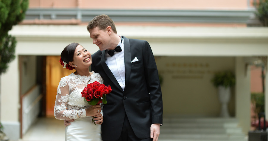 A Wedding Couple in Hong Kong Marriage Registry