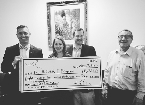John Ross Palmer donates to The H.E.A.R.T. Program