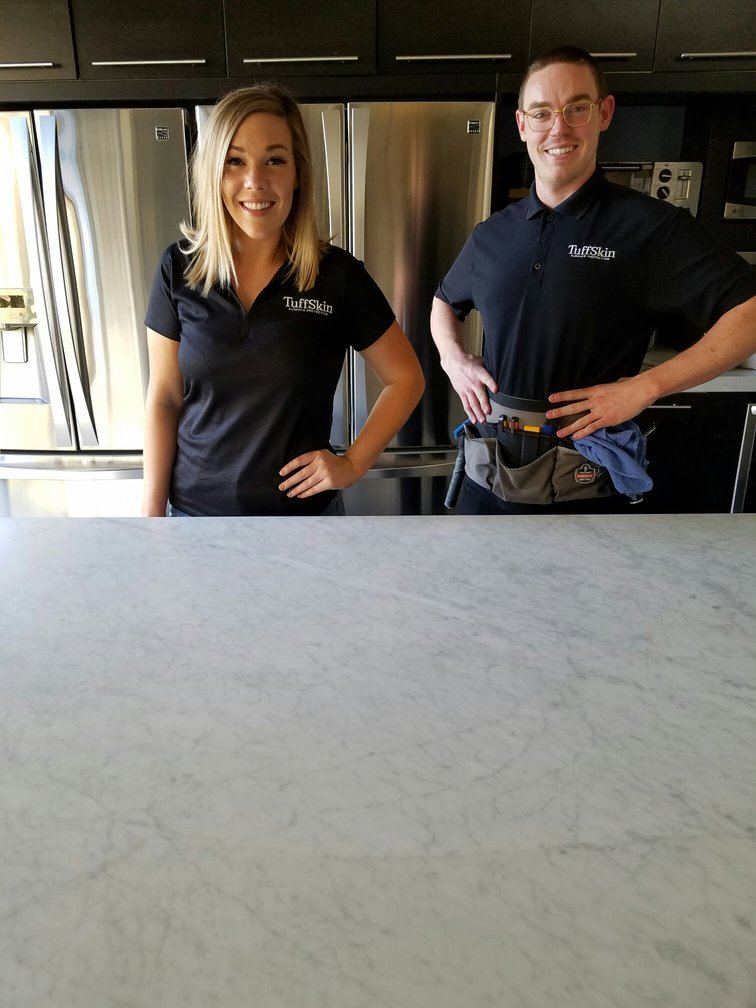 Katie and Jake Friedlander demonstrate TuffSkin Surface Protection