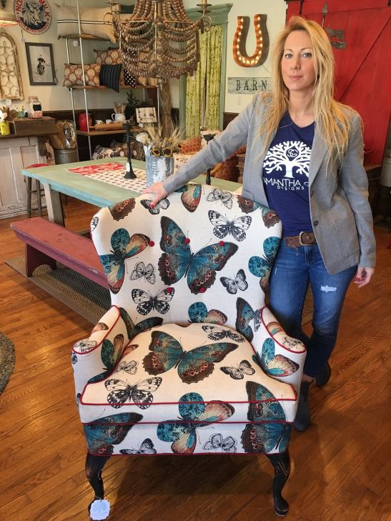 Samantha Thomas, owner Samantha Gale Designs with custom-designed vintage chair