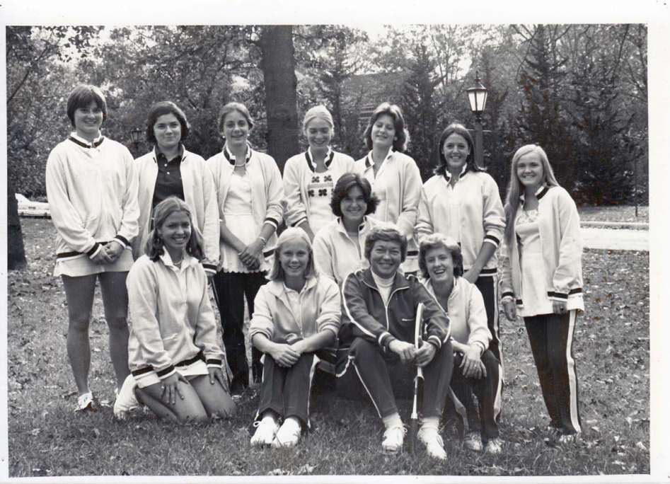 Saint Mary's 1975-76 Undefeated Tennis Team with Coach Mary Lou Jones