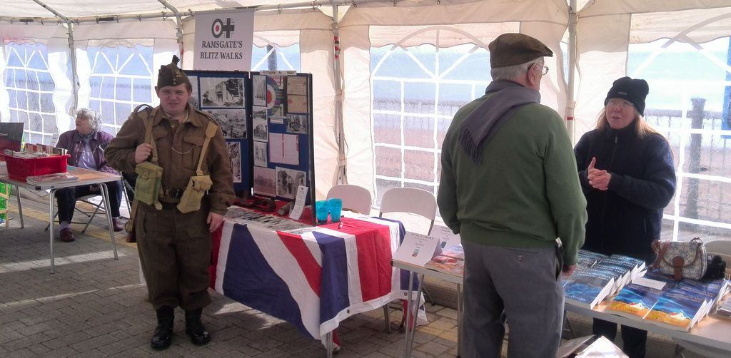 Sally Aviss discussing her books at Ramsgate's Spitfire Day in 2016