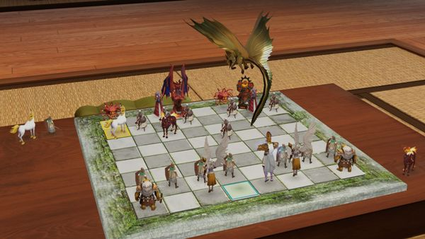 A gold dragon queen hovers over the board in Dungeon Chess for Oculus Rift.