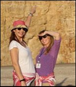 Sandy Dhuyvetter and Mona Naffa at the Dead Sea, Jordan