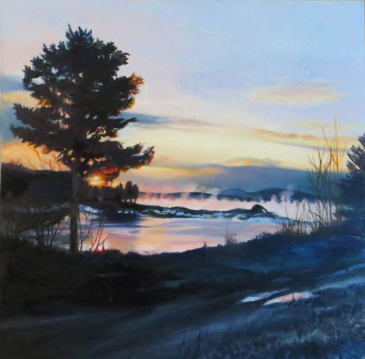 "Pat Chandler ~ 'Sunrise with Sea Smoke' ~ Oil on Panel 24"" x 24"""