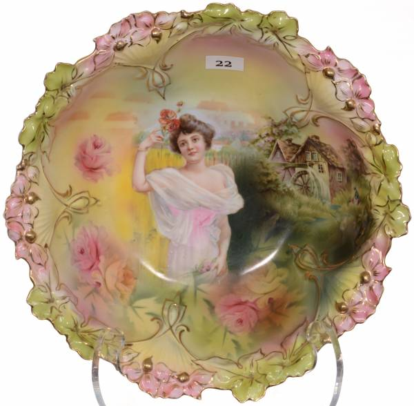 R. S. Prussia mold #85 bowl with summer season portrait and mill scene decor.