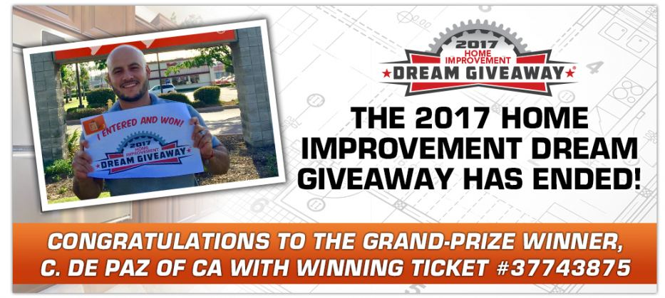 California man wins 2017 home improvement dream giveaway for New home giveaway