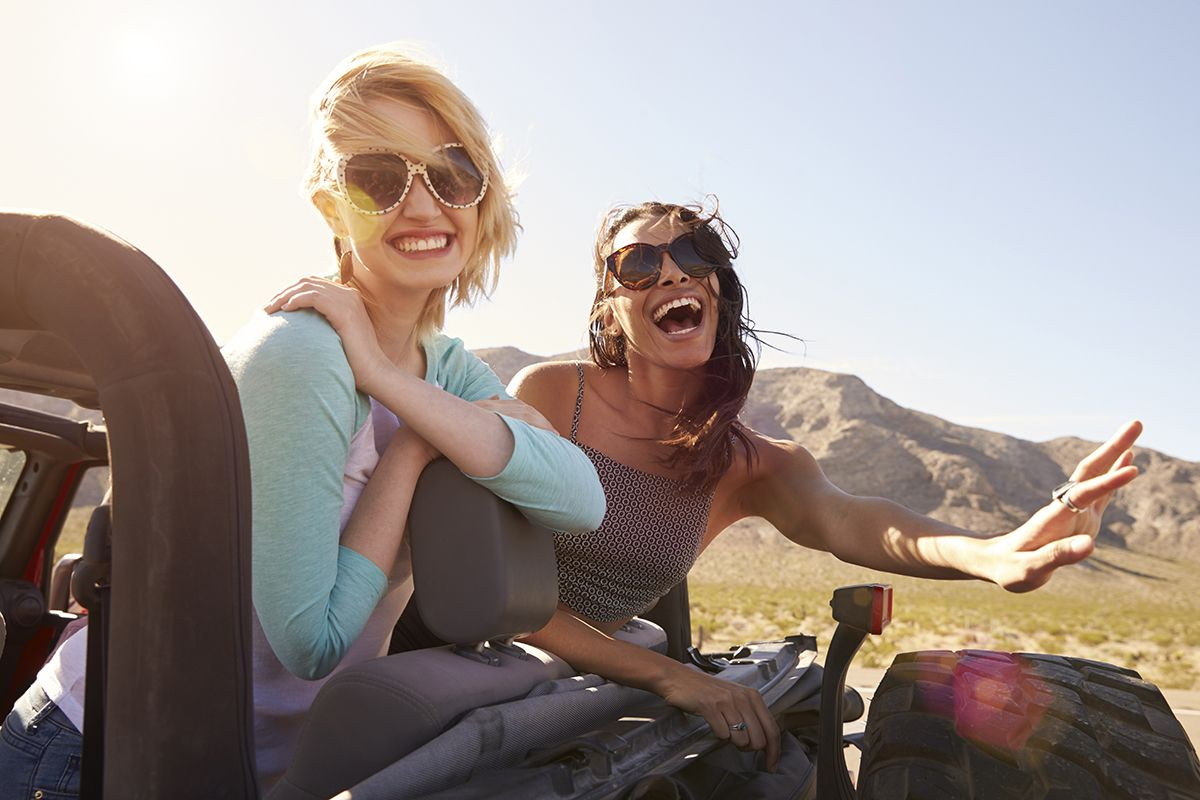 Two Girls Red Jeep