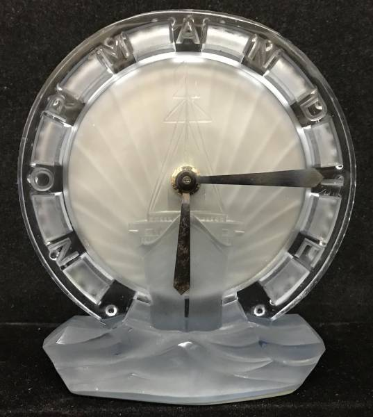 Glass clock given to first class passengers aboard the SS Normandie in 1935.