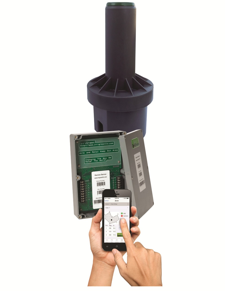 IrriGreen Genius System: Digital Sprinkler, Server and Mobile App