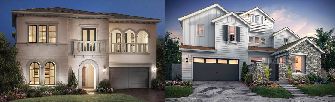 Pictured above are two renderings of new homes from Toll Brothers and Lennar.