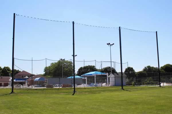 Backup netting at Monona Community Pool.  100' high and 40' wide.