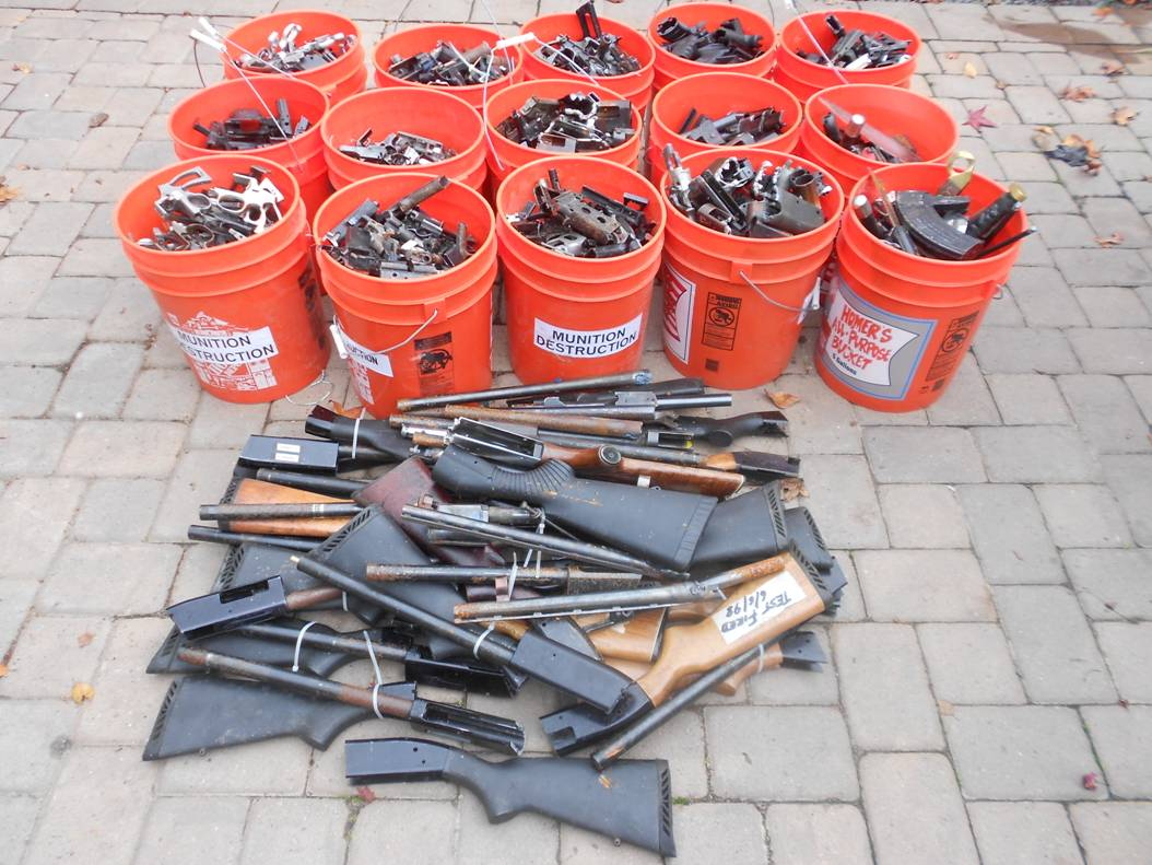 Scrap metal from dismantled guns will be used as material for art.