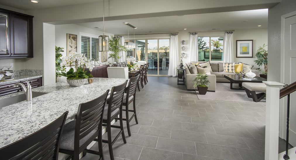 Pictured here is the beautiful open living space of the Trinidad plan.